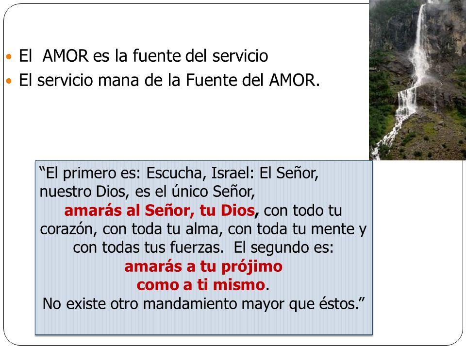 Tres chorros de amor que salen de la misma FUENTE DEL AMOR: a Dios, al prójimo y a nosotros mismos.