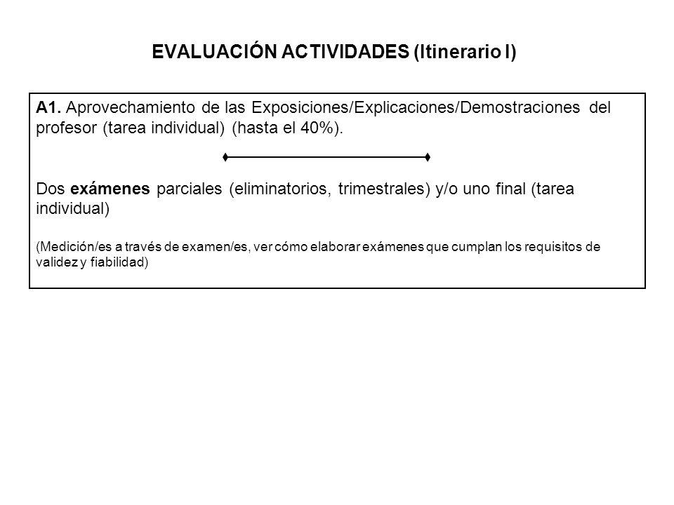 EVALUACIÓN ACTIVIDADES (Itinerario I) A2.