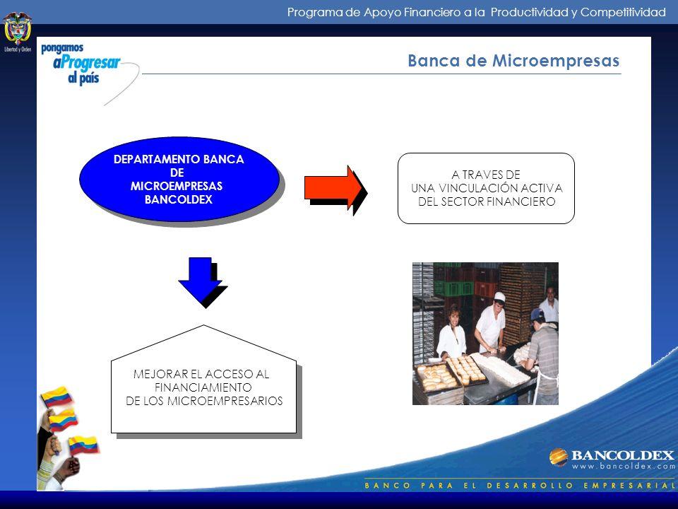 Programa de Apoyo Financiero a la Productividad y Competitividad Banca de Microempresas DEPARTAMENTO BANCA DE MICROEMPRESAS BANCOLDEX DEPARTAMENTO BANCA DE MICROEMPRESAS BANCOLDEX A TRAVES DE UNA VINCULACIÓN ACTIVA DEL SECTOR FINANCIERO MEJORAR EL ACCESO AL FINANCIAMIENTO DE LOS MICROEMPRESARIOS MEJORAR EL ACCESO AL FINANCIAMIENTO DE LOS MICROEMPRESARIOS