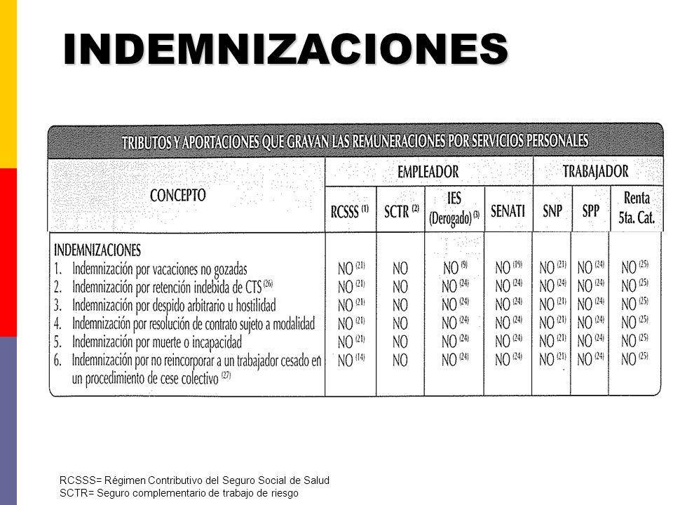 OTROS RCSSS= Régimen Contributivo del Seguro Social de Salud SCTR= Seguro complementario de trabajo de riesgo