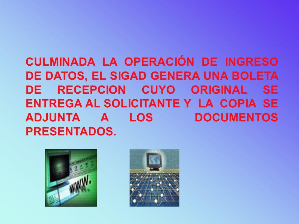POSTERIORMENTE, EL PERSONAL ASIGNADO POR EL JEFE DEL AREA ENCARGADO DE LA REVISION DOCUMENTARIA INGRESA Y/O VERIFICA EN EL SIGAD, LA SIGUIENTE INFORMACION: SOLICITUD DE RESTITUCION: NUMERO DE LA DECLARACION UNICA O SIMPLIFICADA DE EXPORTACION (COD.ADUANA – AÑO – NUMERO), FECHA DE EMBARQUE, SERIE Y VALOR FOB SUJETO A RESTITUCION POR CADA SERIE.
