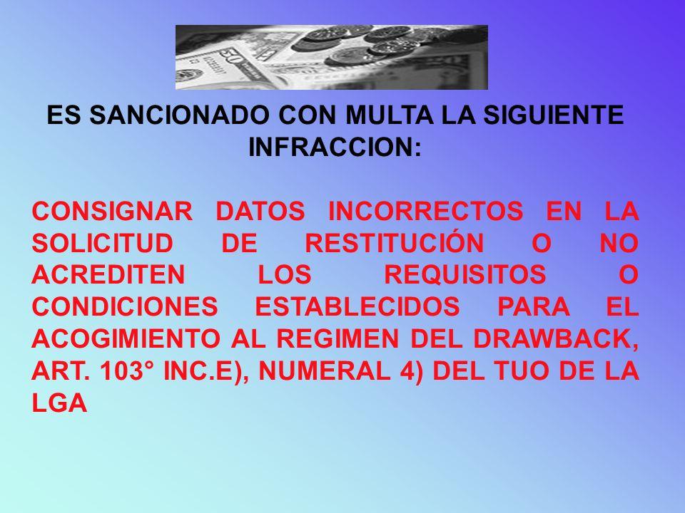 SANCION EQUIVALENTE AL 50% DEL MONTO RESTITUIDO INDEBIDAMENTE CUANDO TENGAN INCIDENCIA EN SU DETRMINACION.
