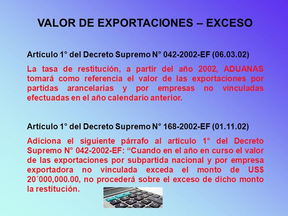 Artículo 1° del Decreto Supremo N° 001-2003-EF (08.01.03) Sustituye el primer párrafo del artículo 3° del Decreto Supremo N° 104-95-EF y modificatorias: La tasa de restitución será el 5% del valor FOB de exportación de hasta los primeros US$ 20´000,000.00 anuales de exportación de productos por subpartida arancelaria y por empresa exportadora no vinculada, monto que podrá ser reajustado de acuerdo a las evaluaciones que realice el Ministerio de Economía y Finanzas.