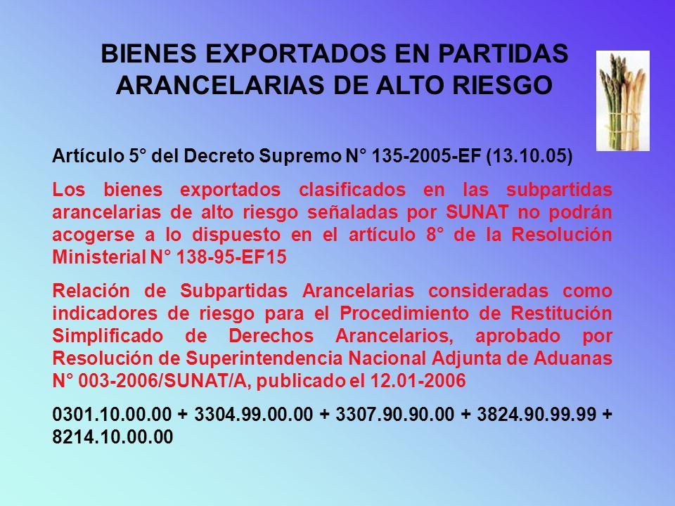 INDICADORES DE RIESGO Artículo 3° del Decreto Supremo N° 135-2005-EF (13.10.05) No haya numerado declaraciones de exportación en un período mayor a 12 meses anteriores a la fecha de presentación de la solicitud.