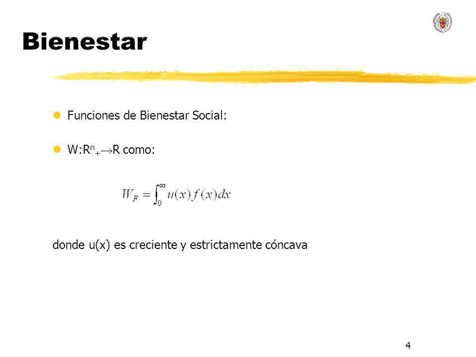 5 Bienestar lSe trata de comparar F y G: donde u(x) es creciente y estrictamente cóncava