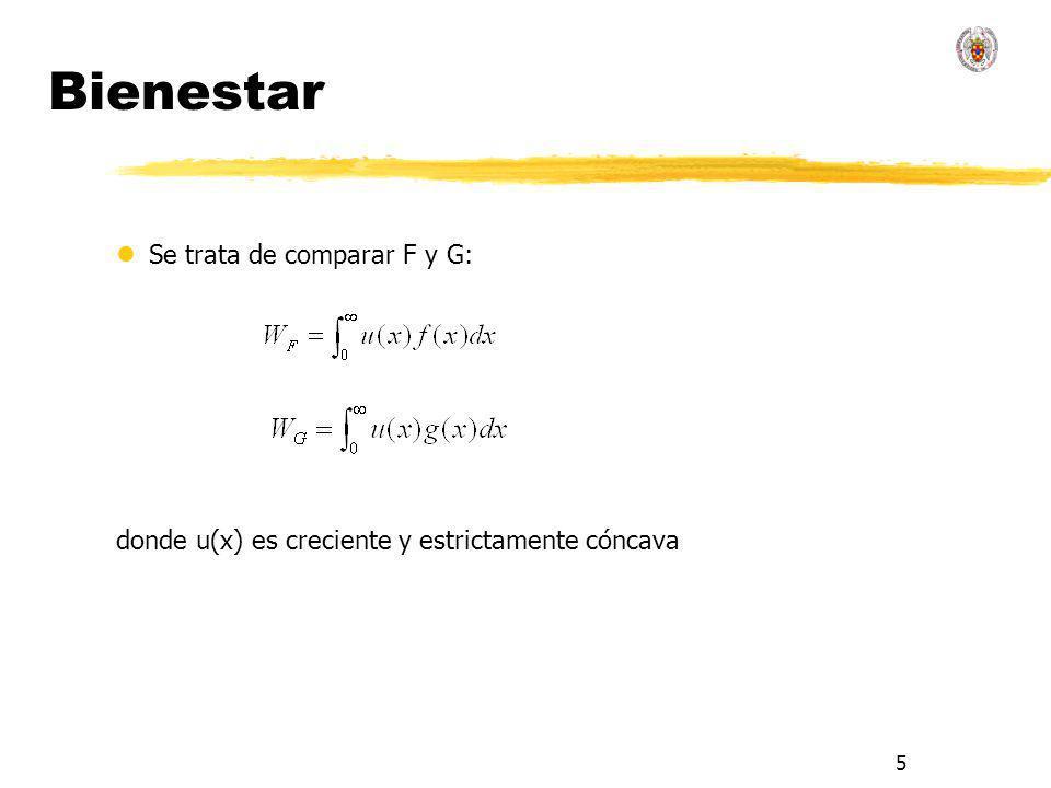 6 Teorema de Atkinson lAtkinson (1970), Kolm (1965) lSe trata de comparar F y G a través de las curvas de Lorenz: lSi μ F = μ G.