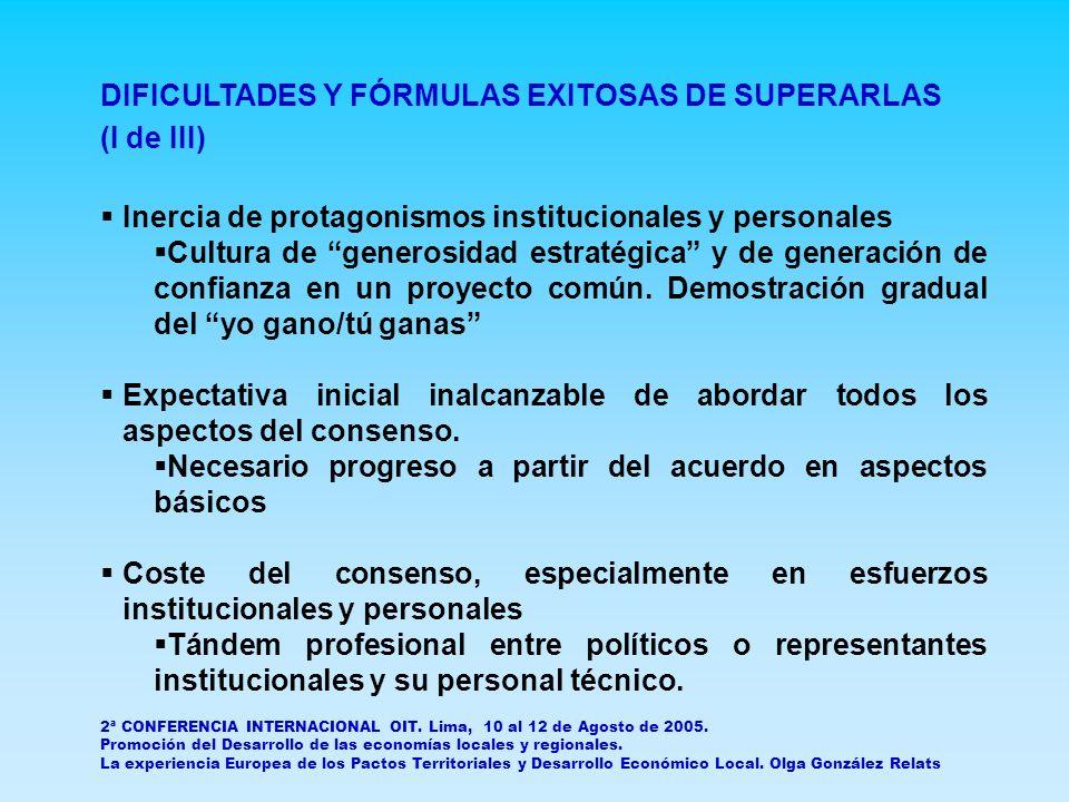 DIFICULTADES Y FÓRMULAS EXITOSAS DE SUPERARLAS (II de III) Conflicto entre la necesidad de resultados inmediatos y la apuesta por los resultados a medio y largo plazo.