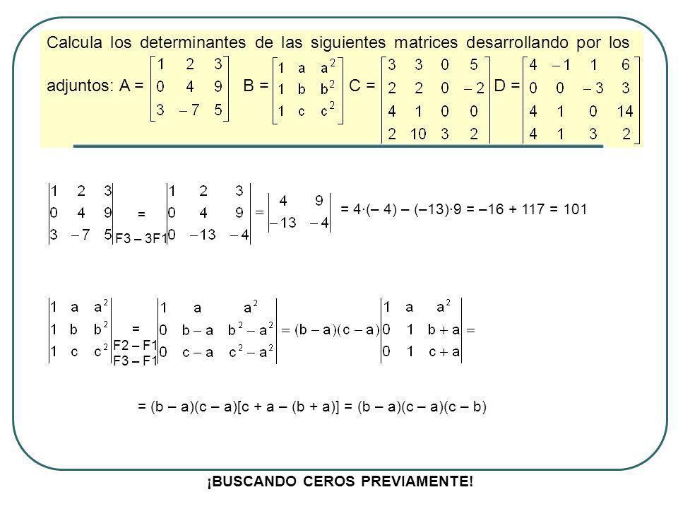Calcula los determinantes de las siguientes matrices desarrollando por los adjuntos: A = B = C = D = Desarrollamos por la tercera columna porque tiene más ceros -3·3·[3·(-2) – 2·5] = -3·3·(-16) = 144 ¡BUSCANDO CEROS PREVIAMENTE.