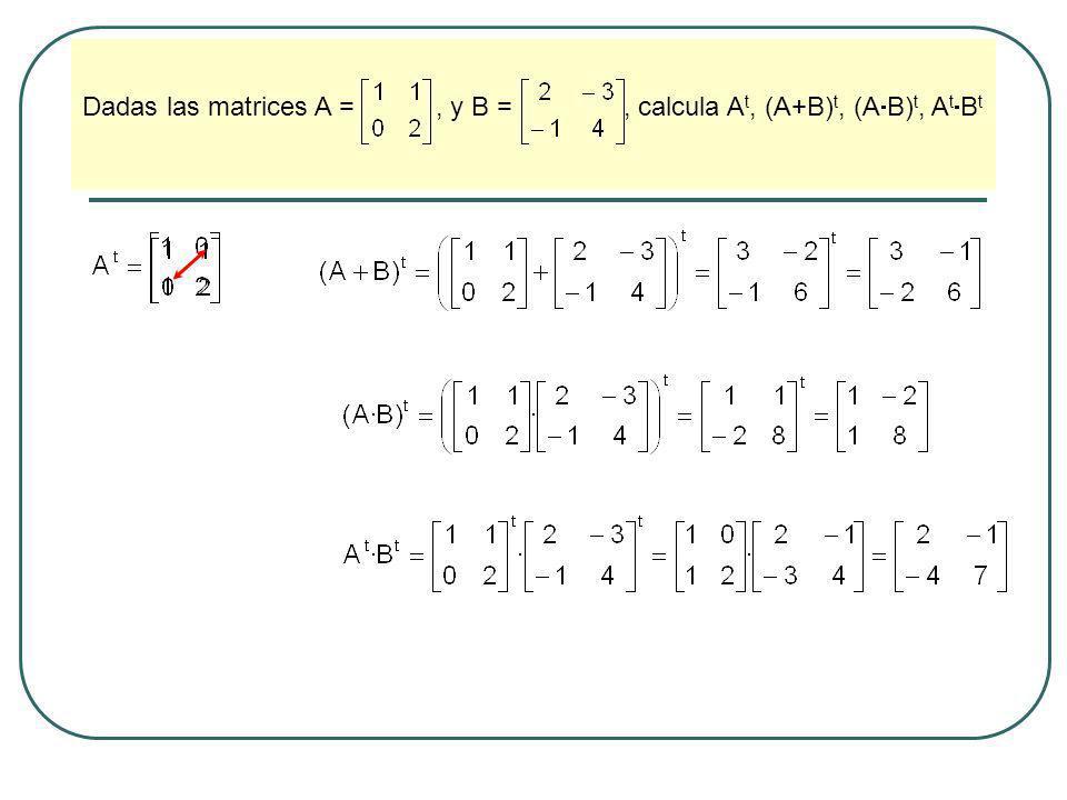 Resuelve el siguiente sistema de ecuaciones matriciales: donde: y En principio, tratamos el sistema de ecuaciones con incógnitas A y B, como si fuera un sistema escalar.
