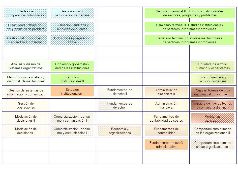 Modelación de decisiones I Fundamentos de contabilidad Fundamentos de teoría administrativa Comportamiento humano en las organizaciones I Modelación de decisiones II Fundamentos de contabilidad de costos Comercialización, consu- mo y comunicación I Comportamiento humano en las organizaciones II Gestión de operaciones Administración financiera I Comercialización, consu- mo y comunicación II Gestión de sistemas de información y comunicac.