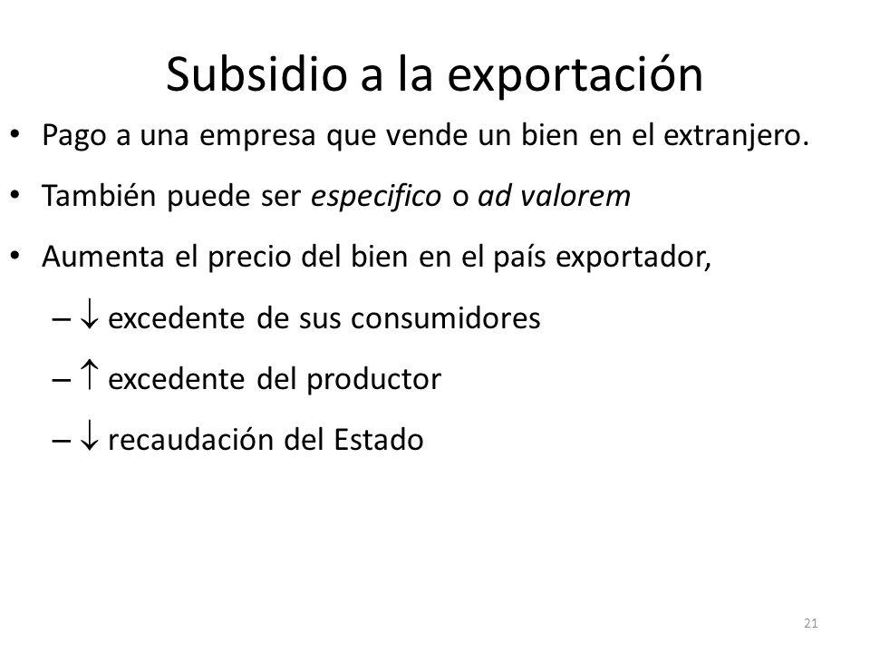 Subsidio a la exportación 22 Efecto negativo sobre el bienestar nacional: pérdida neta de bienestar de b+d+e+f+g En el importador se reduce el precio de P W a P* S Aumenta el precio del bien en DOM precio < subsidio