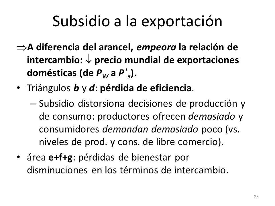 Subsidio a la exportación en UE Política Agrícola Común: – Altos precios para productos agrícolas – Subsidios a exportaciones de excedentes de producción => precios mundiales de productos agrícolas.