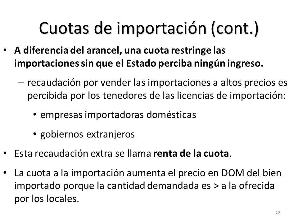 Cuotas de importación Cae EC (a+b+c+d) Aumenta EP (a) Renta de la cuota (c) 27 CUOTA