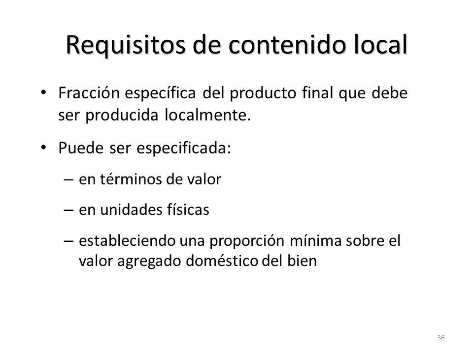 Requisitos de contenido local (cont.) Protección para productores de insumos domésticos (como cuota a M).