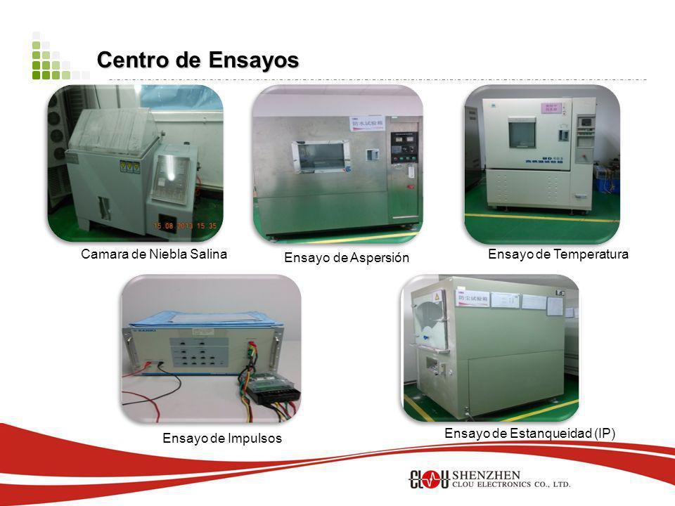Centro de Ensayos Centro de Ensayos Camara de Niebla Salina Ensayo de Aspersión Ensayo de Temperatura Ensayo de Impulsos Ensayo de Estanqueidad (IP)