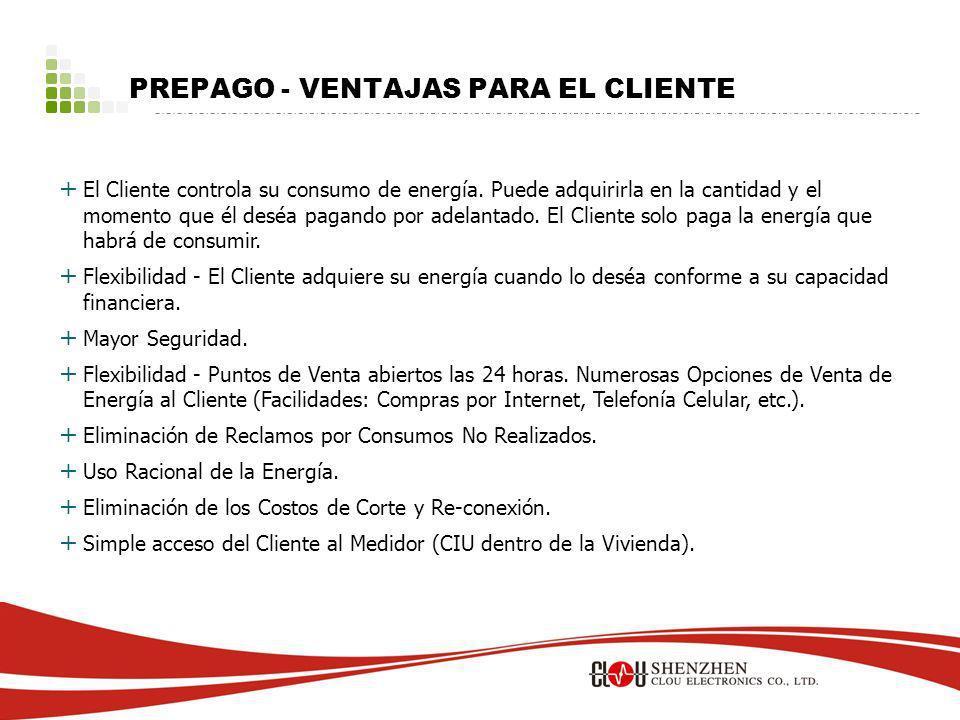 PREPAGO - VENTAJAS PARA EL CLIENTE + El Cliente controla su consumo de energía.