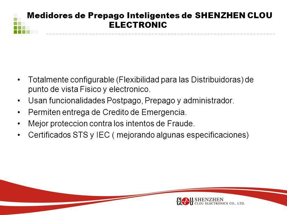 Medidores de Prepago Inteligentes de SHENZHEN CLOU ELECTRONIC Totalmente configurable (Flexibilidad para las Distribuidoras) de punto de vista Fisico y electronico.
