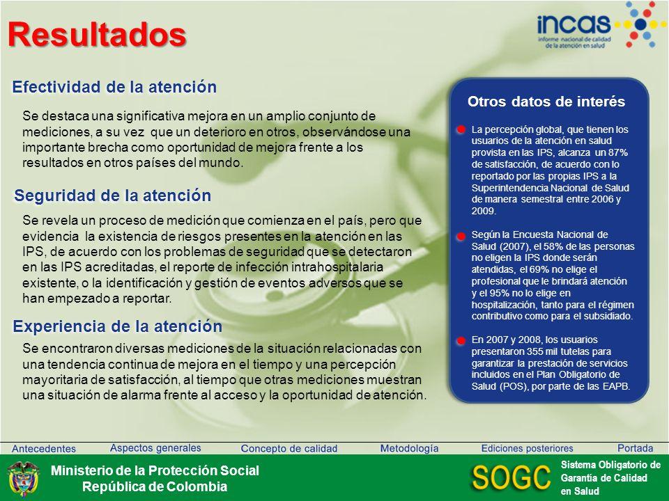 Ediciones posteriores Ministerio de la Protección Social República de Colombia Sistema Obligatorio de Garantía de Calidad en Salud Para más información sobre el INCAS Colombia – 2009, visite www.minproteccionsocial.gov.co/incas
