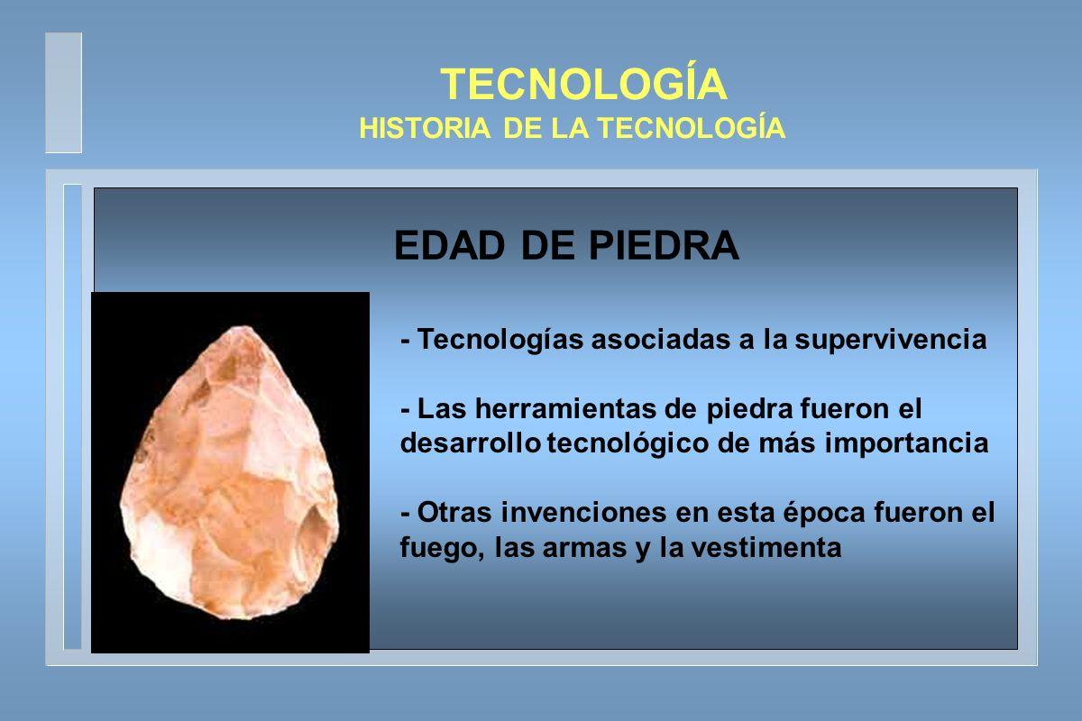 TECNOLOGÍA HISTORIA DE LA TECNOLOGÍA - Se producen cambios radicales en la tecnología agraria - Se avanzó en tecnologías relativas a la domesticación animal y aparecieron los asentamientos permanentes EDADES DE COBRE Y BRONCE
