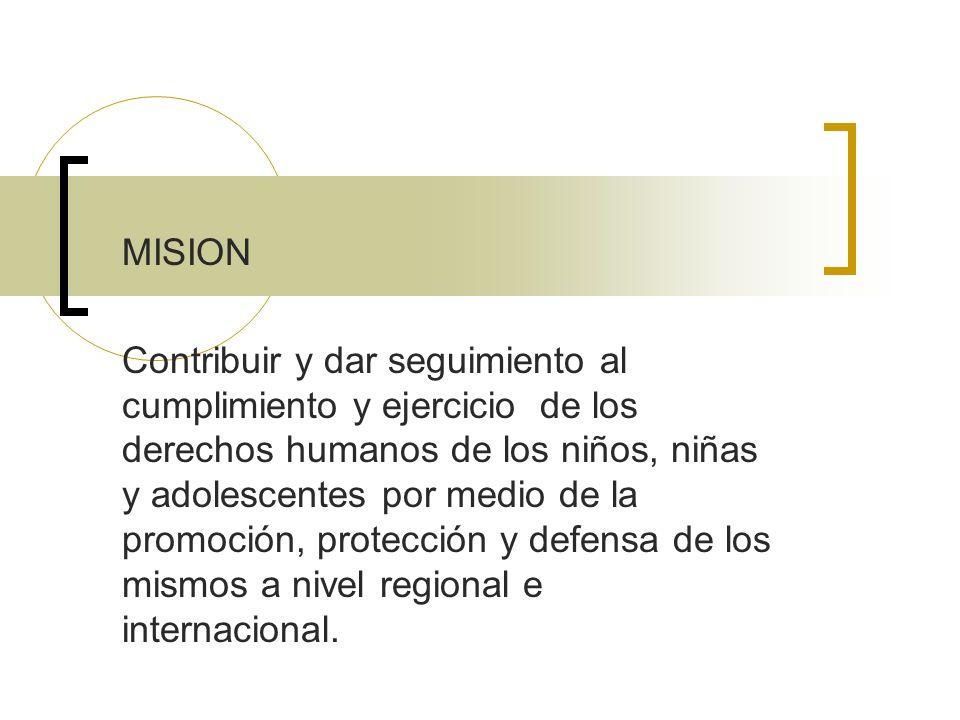 Vision Que todos y cada uno de los niños, niñas y adolescentes en América Latina y el Caribe vivan en familias, sociedades y Estados que garanticen el goce y ejercicio de sus derechos humanos.