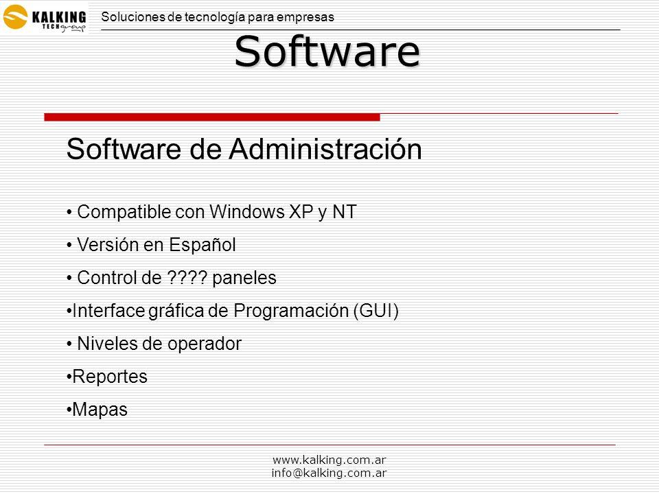 www.kalking.com.ar info@kalking.com.arSoftware Software en Idioma Inglés o Español Niveles de operador (definido por el usuario) Función de Cliente/servidor Monitoreo de eventos en tiempo Real Administración a través de RS232, RS485 o Ethernet (opcional con adaptador) Grupos de autorización Horarios Reportes por usuario, departamento, por fecha y hora Base de datos de Access, SQLServer, Paradox Gratis o con Licencia CARACTERISTICAS PRINCIPALES Soluciones de tecnología para empresas