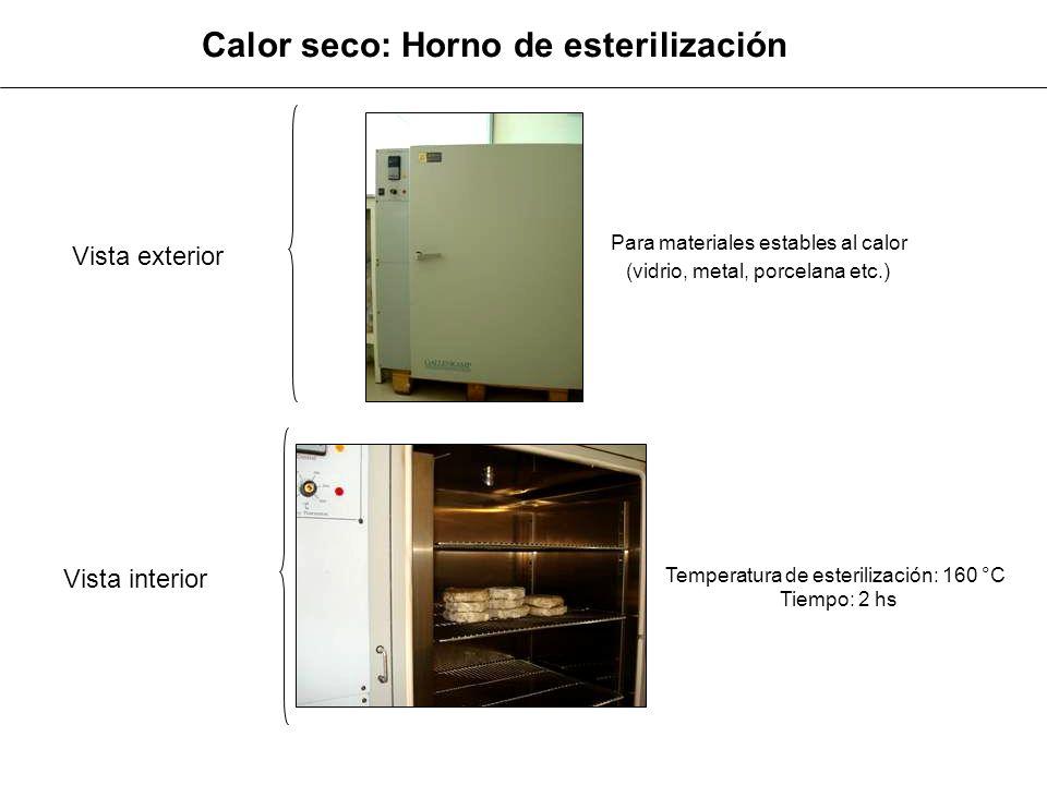 Otros métodos de esterilización Filtración: soluciones lábiles Agua Oxigenada Alcohol etílico Hipoclorito Formol Bicloruro de mercurio Radiación UV: superficies, aire y agua Productos químicos: mesada, manos, tapones, etc.