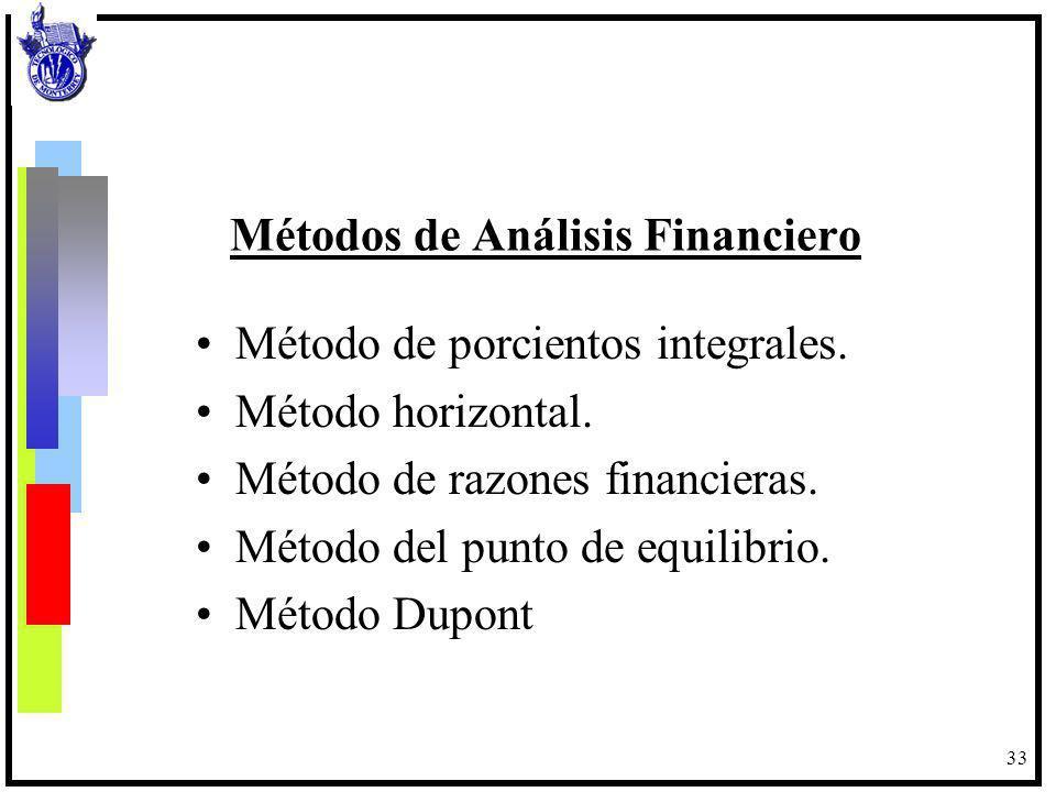 34 Método de porcentajes integrales Consiste en analizar la situación financiera de una empresa basándose en la proporción que los rubros tienen en relación a totales o totales parciales, representativos en cada estado financiero, con lo que se revela la estructura financiera intrínseca.