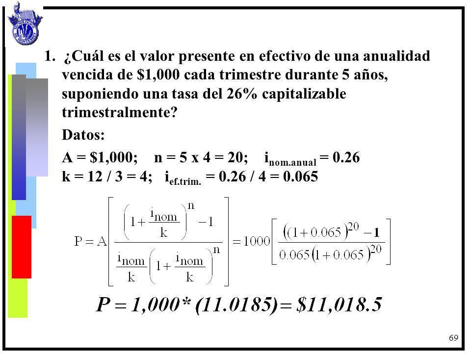 70 A = $1,000 20 trimestres VF i = 26% anual nominal cap.trim.