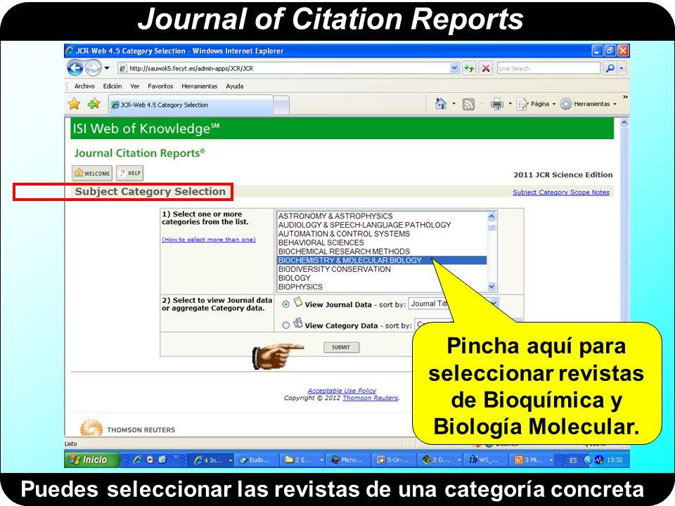 Journal of Citation Reports Resultado de la búsqueda por categorías