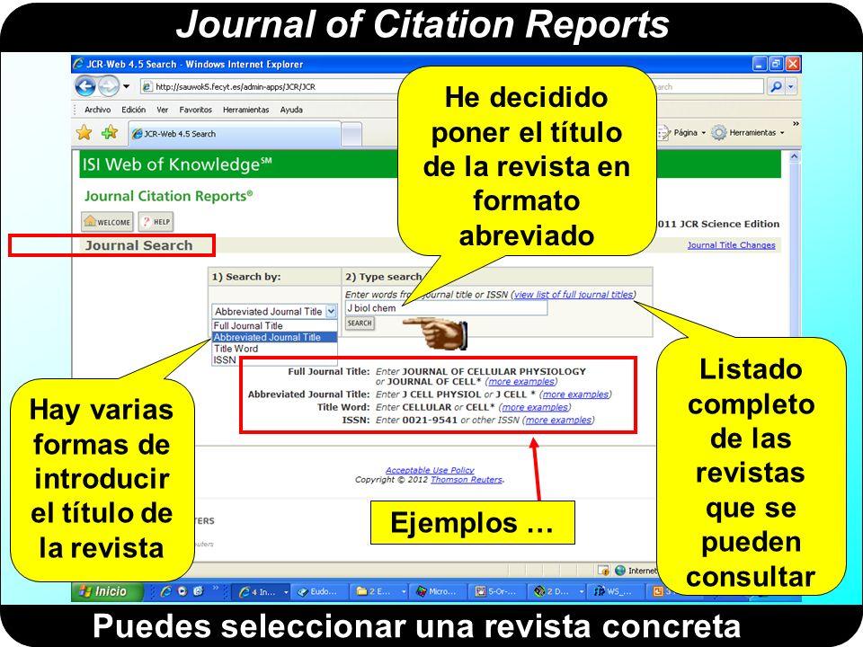 Journal of Citation Reports Diversas formas de poner el título (1)