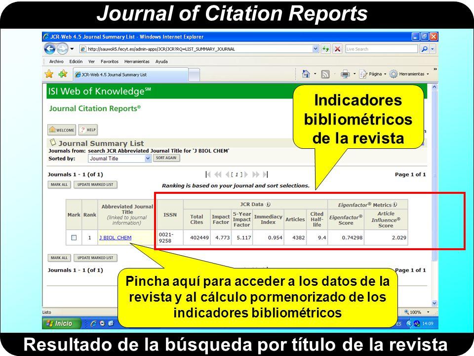 Journal of Citation Reports Datos generales de la revista Pincha aquí para ver la evolución del factor de impacto durante los últimos 5 años Indicadores bibliométricos