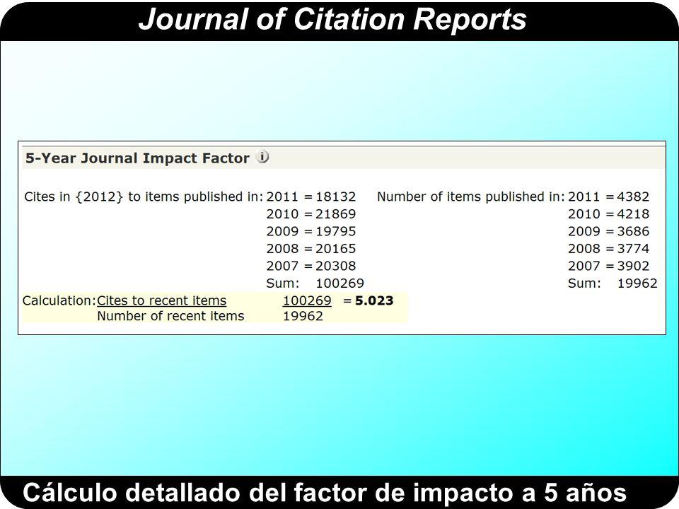 Journal of Citation Reports Cálculo detallado del índice de inmediatez El índice de inmediatez de una revista se calcula dividiendo el número de citas que ha recibido una revista (por ejemplo, JBC) en un año concreto entre el número de artículos publicados por la revista JBC en ese mismo año.