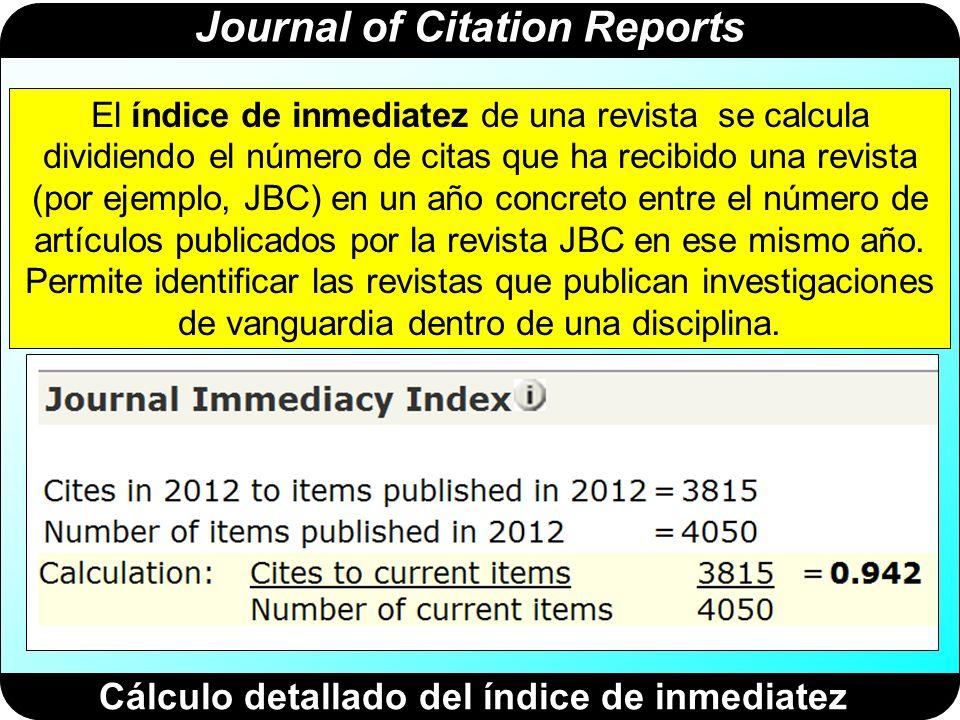 Journal of Citation Reports Cálculo detallado de la vida media de las citas que ha recibido JBC