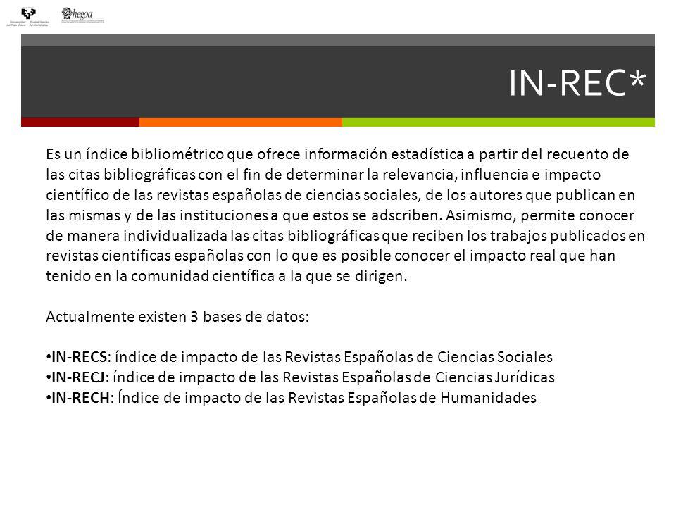 IN-REC* IN-REC* ordena las revistas por índice de impacto.