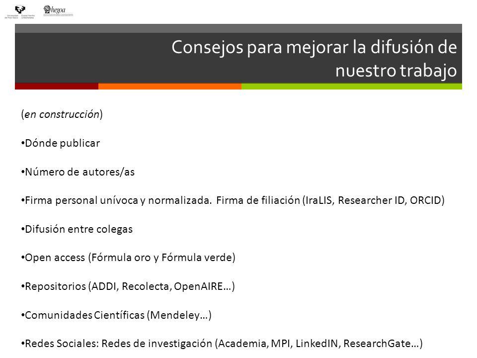 Para terminar Algunos artículos y opiniones interesantes que cuestionan este sistema de evaluación científica: Manipulando el factor de impacto: Siempre volvemos a Gualberto Buela-Casal: http://unnombrealazar.blogspot.com.es/2012/05/manipulando-el-factor-de-impacto.htmlhttp://unnombrealazar.blogspot.com.es/2012/05/manipulando-el-factor-de-impacto.html y http://unnombrealazar.blogspot.com.es/2012/07/jcr-2011-todo-se-pega-ahora-le-toca.html http://unnombrealazar.blogspot.com.es/2012/07/jcr-2011-todo-se-pega-ahora-le-toca.html La falta de rigor de Thomson Reuters al calcular el índice de impacto de una revista en el JCR: http://francisthemulenews.wordpress.com/2013/02/06/la-falta-de-rigor-de-thomson-reuters-al- calcular-el-indice-de-impacto-de-una-revista-en-el-jcr/ http://francisthemulenews.wordpress.com/2013/02/06/la-falta-de-rigor-de-thomson-reuters-al- calcular-el-indice-de-impacto-de-una-revista-en-el-jcr/ Los españoles y las revistas científicas...