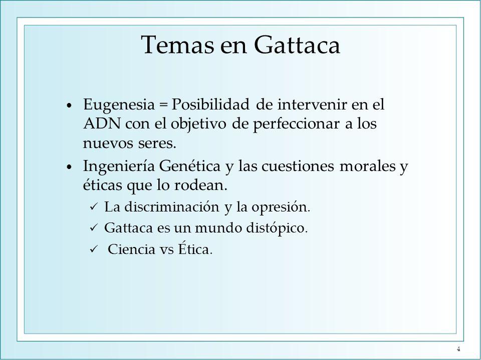 Nombres en Gattaca GATTACA = acrónimo de las cuatro iniciales de las proteínas que forman el ADN (A, G, T y C: Adenina, Guanina, Citosina y Timina).