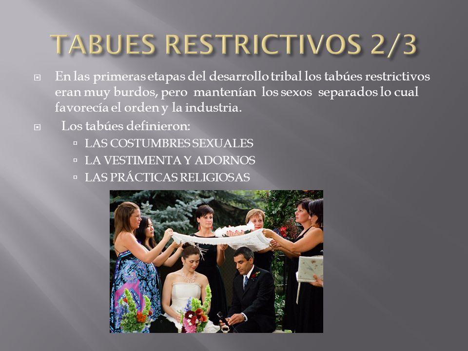 CREARON LOS CONCEPTOS DE PECADO, VICIO Y CRIMEN Durante mucho tiempo estos tabúes y reglamentaciones se liberaban en las festividades importantes en especial el 1º de Mayo.