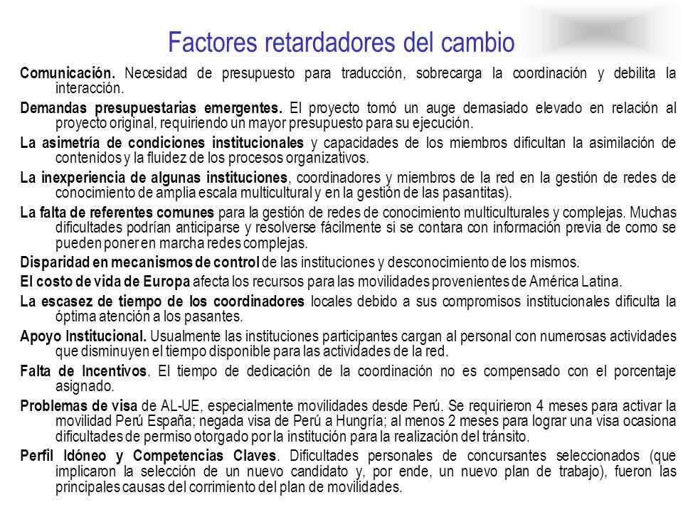 Factores aceleradores del cambio Gestión especializada de la red.