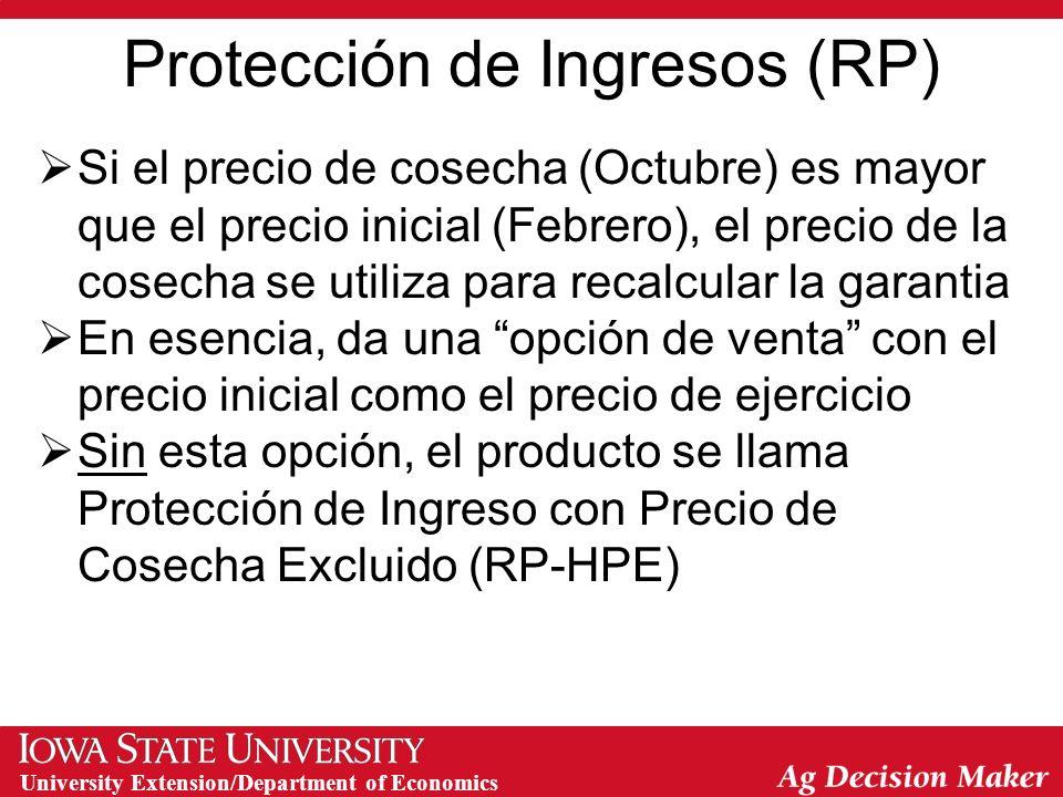 University Extension/Department of Economics Con Precio de Cosecha Excluida