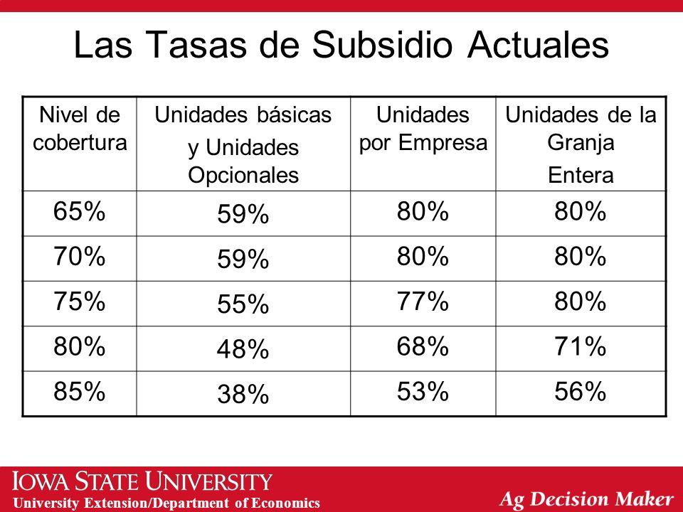 University Extension/Department of Economics Seguros de Cultivos en EE.UU.