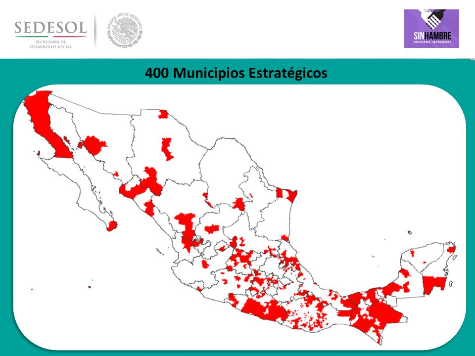 22 Municipios Estratégicos por Entidad Federativa Municipios Personas en pobreza extrema Con carencia de alimentación Total400 6,473,792 4,608,308 EstadoMunicipios Población en pobreza Extrema en los municipios seleccionados Población con pobreza extrema y carencia por acceso a la alimentación en los municipios seleccionados Chiapas 551,456,490792,503 México 32873,809782,092 Guerrero 46848,493605,202 Veracruz 33636,678383,606 Oaxaca 133472,699252,654 Puebla 14269,334198,194 Guanajuato 9260,529221,358 Tabasco 7226,201176,520 Michoacán 7167,910136,598 San Luis Potosí 7139,461106,322 Jalisco 6133,632120,662 Chihuahua 5127,561106,367 Distrito Federal 4120,05299,894 Baja California 3106,31286,927 Sinaloa 473,79367,870 Durango 365,33350,121 Hidalgo 561,53048,760 EstadoMunicipiosPobreza Extrema Población con pobreza extrema y carencia por acceso a la alimentación en los municipios seleccioneados Tamaulipas356,87145,504 Campeche347,28040,895 Querétaro244,71738,424 Quintana Roo244,63238,751 Coahuila234,83632,589 Sonora233,42731,686 Zacatecas233,27828,325 Yucatán231,01527,651 Nayarit121,64415,044 Tlaxcala321,12115,769 Nuevo León120,80419,049 Aguascalientes117,98715,498 Baja California Sur112,15211,722 Morelos19,5868,055 Colima14,6253,698