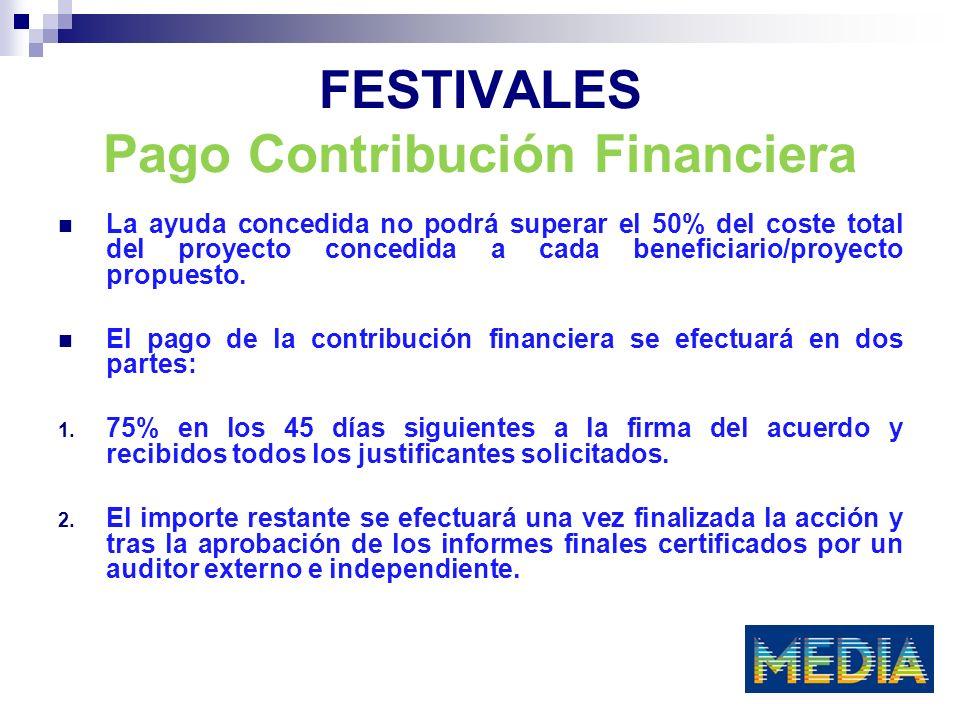 FESTIVALES FECHAS CONVOCATORIA El 27 noviembre 2009 para proyectos iniciados entre el 1 de mayo de 2010 y el 31 de octubre de 2010.