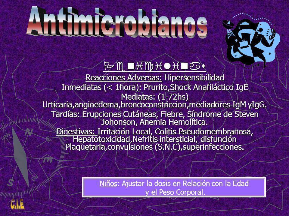 Cefalosporina: Antibiótico b-lactamico,Bactericida de espectro mas amplio que las penicilinas, Anti gram+, mayor acción sobre gram-,incluye flora anaerobia, presenta periodos mayores de vida media.