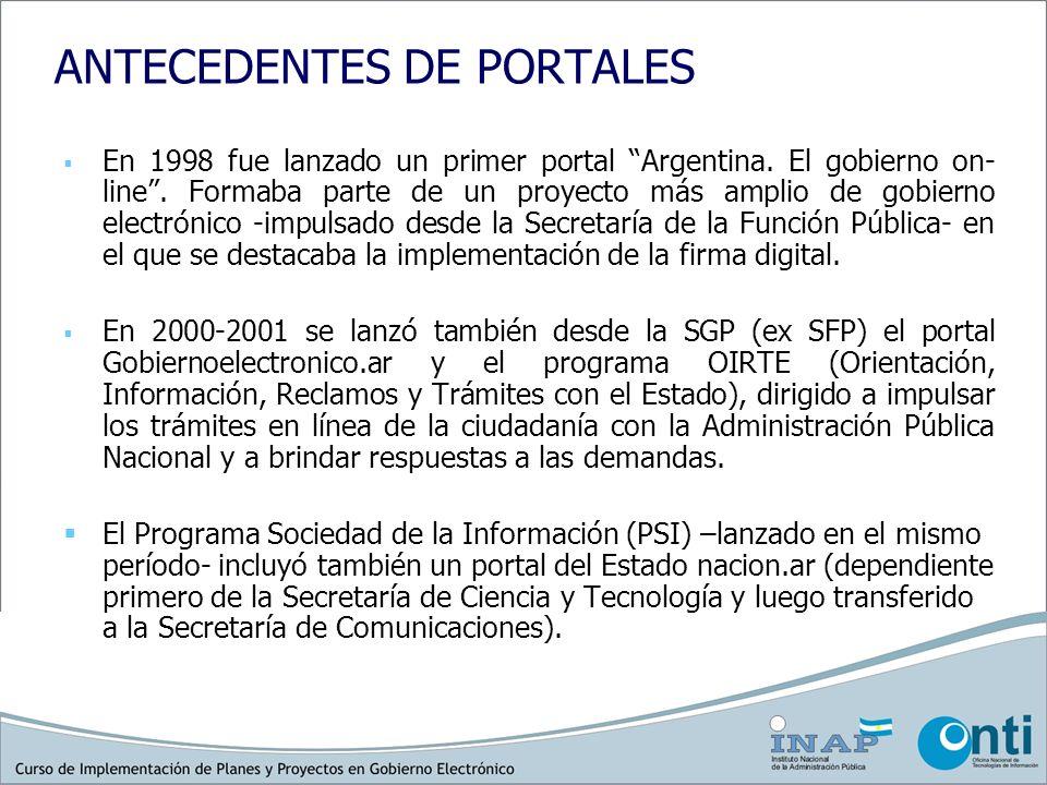 NUEVO PORTAL ARGENTINA.GOV.AR PNGE - Decreto 378 (27 de abril de 2005). Características