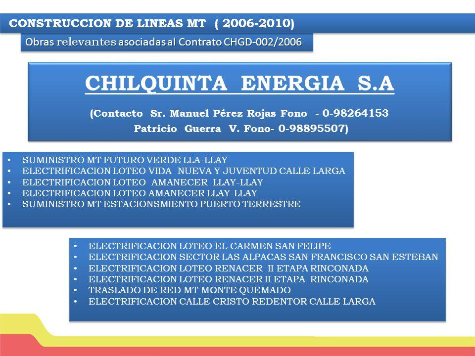 CHILQUINTA ENERGIA S.A (Contacto Sr.Manuel Pérez Rojas Fono - 0- 98264153 Patricio Guerra V.