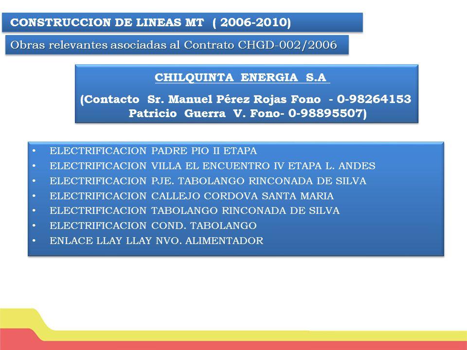 CONSTRUCCION DE LINEAS ELECTRICA AT Y BT PUERTO NATALES XII REGION CONSTRUCCION DE LINEAS ELECTRICA AT Y BT PORVENIR XII REGION CONSTRUCCION DE LINEAS ELECTRICA AT Y BT LOS LAGOS IX REGION CONSTRUCCION DE LINEAS ELECTRICA AT Y BT CHOSHUENCO IX REGION CONSTRUCCION DE LINEAS ELECTRICA AT Y BT PULLEHUE X REGION CONSTRUCCION DE LINEAS ELECTRICA AT Y BT LAGO RANCO X REGION CONSTRUCCION DE LINEAS ELECTRICA AT Y BT RUTA 215 X REGION CONSTRUCCION DE LINEAS ELECTRICA AT Y BT PUNTAS NEGRA SAN VICENTE REGION CONSTRUCCION DE LINEAS ELECTRICA AT Y BT LITUECHE VI REGION CONSTRUCCION DE LINEAS ELECTRICA AT Y BT EN CURACAVI CONSTRUCCION DE LINEAS ELECTRICA AT Y BT EN LAS PALMAS DE VIÑA DEL MAR CONSTRUCCION DE LINEAS ELECTRICA AT Y BT EN LIMACHE CONSTRUCCION DE LINEAS ELECTRICA AT Y BT PUERTO NATALES XII REGION CONSTRUCCION DE LINEAS ELECTRICA AT Y BT PORVENIR XII REGION CONSTRUCCION DE LINEAS ELECTRICA AT Y BT LOS LAGOS IX REGION CONSTRUCCION DE LINEAS ELECTRICA AT Y BT CHOSHUENCO IX REGION CONSTRUCCION DE LINEAS ELECTRICA AT Y BT PULLEHUE X REGION CONSTRUCCION DE LINEAS ELECTRICA AT Y BT LAGO RANCO X REGION CONSTRUCCION DE LINEAS ELECTRICA AT Y BT RUTA 215 X REGION CONSTRUCCION DE LINEAS ELECTRICA AT Y BT PUNTAS NEGRA SAN VICENTE REGION CONSTRUCCION DE LINEAS ELECTRICA AT Y BT LITUECHE VI REGION CONSTRUCCION DE LINEAS ELECTRICA AT Y BT EN CURACAVI CONSTRUCCION DE LINEAS ELECTRICA AT Y BT EN LAS PALMAS DE VIÑA DEL MAR CONSTRUCCION DE LINEAS ELECTRICA AT Y BT EN LIMACHE CONSTRUCCION DE LINEAS MT PARA SITIOS ANTENAS CELULARES ( 2010 ) COMERCIAL E INDUSTRIAL DELVA S.A