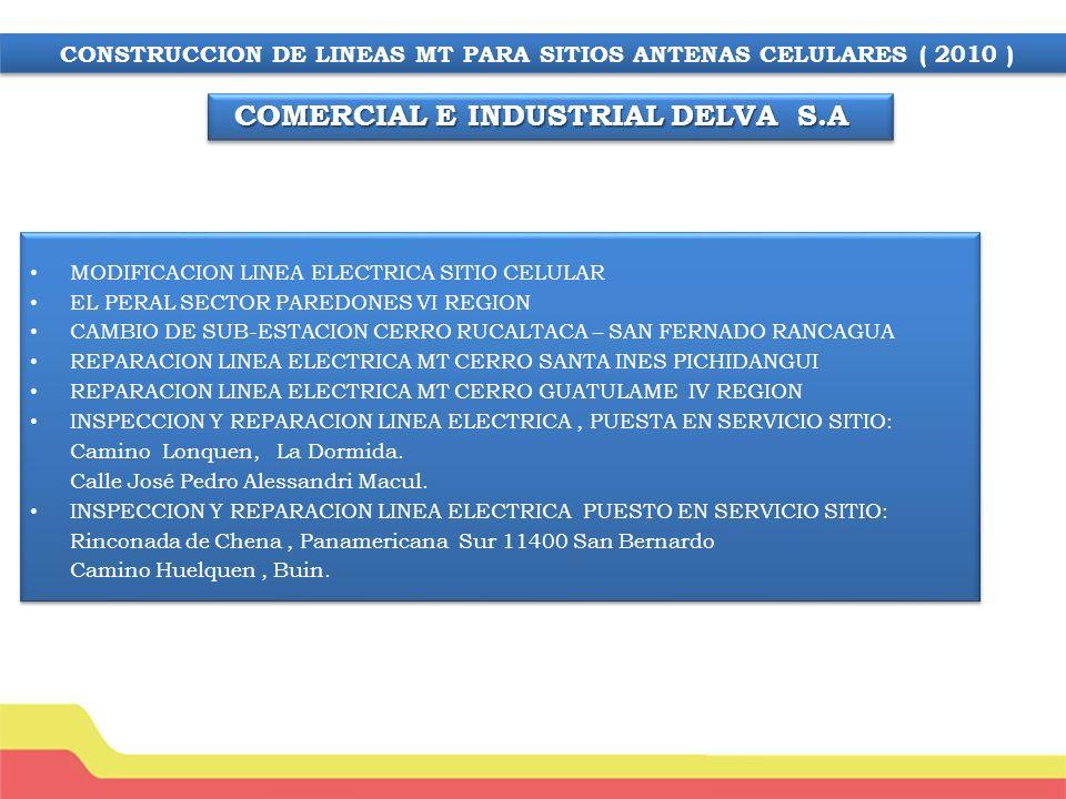 Puesta en servicio sitio Movistar Calle Santa Lucia Quilicura Construcción Línea MT Sitio Celular Litueche VI Región Obra Cerro Trocalan Comuna de Bultro Rancagua.