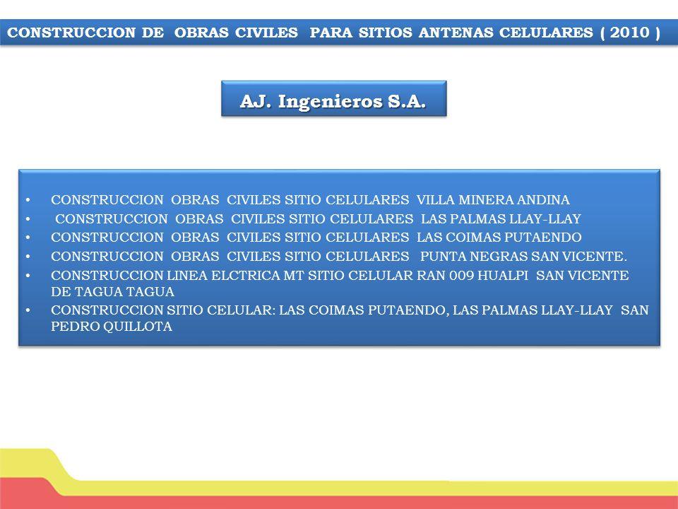 CONSTRUCCION SITIO VENANCIA LEIVA ( MONO PUESTO 30MTS) CONSTRUCCIÓN SITIO LIDER PUENTE ALTO ( MONO POSTE 36MTS) CONSTRUCCIÓN SITIO HENRY WALLACE (MONO POSTE 30 MTS) CONSTRUCCIÓN SITIO ISLA NEGRA (TORRE AUTOSOPORTADA 36 – 75 CONSTRUCCIÓN SITIO VARGAL SALCESO (MONO POSTE 30 MTS) CONSTRUCCIÓN SITIO ALTO MACUL (TORRE AUTOSOPORTADA 36 MTS) COSNTRUCCIÓN SITIO EL QUISCO ( MONO POSTE 35 MTS) CONSTRUCCIÓN SITIO ESCUADRON (TORRE AUTOSPORTADA 30 MTS) CONSTRUCCIÓN SITIO LOCALIZADA ISLA NEGRA CONSTRUCCION SITIO VENANCIA LEIVA ( MONO PUESTO 30MTS) CONSTRUCCIÓN SITIO LIDER PUENTE ALTO ( MONO POSTE 36MTS) CONSTRUCCIÓN SITIO HENRY WALLACE (MONO POSTE 30 MTS) CONSTRUCCIÓN SITIO ISLA NEGRA (TORRE AUTOSOPORTADA 36 – 75 CONSTRUCCIÓN SITIO VARGAL SALCESO (MONO POSTE 30 MTS) CONSTRUCCIÓN SITIO ALTO MACUL (TORRE AUTOSOPORTADA 36 MTS) COSNTRUCCIÓN SITIO EL QUISCO ( MONO POSTE 35 MTS) CONSTRUCCIÓN SITIO ESCUADRON (TORRE AUTOSPORTADA 30 MTS) CONSTRUCCIÓN SITIO LOCALIZADA ISLA NEGRA CONSTRUCCION DE OBRAS CIVILES PARA SITIOS ANTENAS CELULARES PPE (mandante American Tower International)
