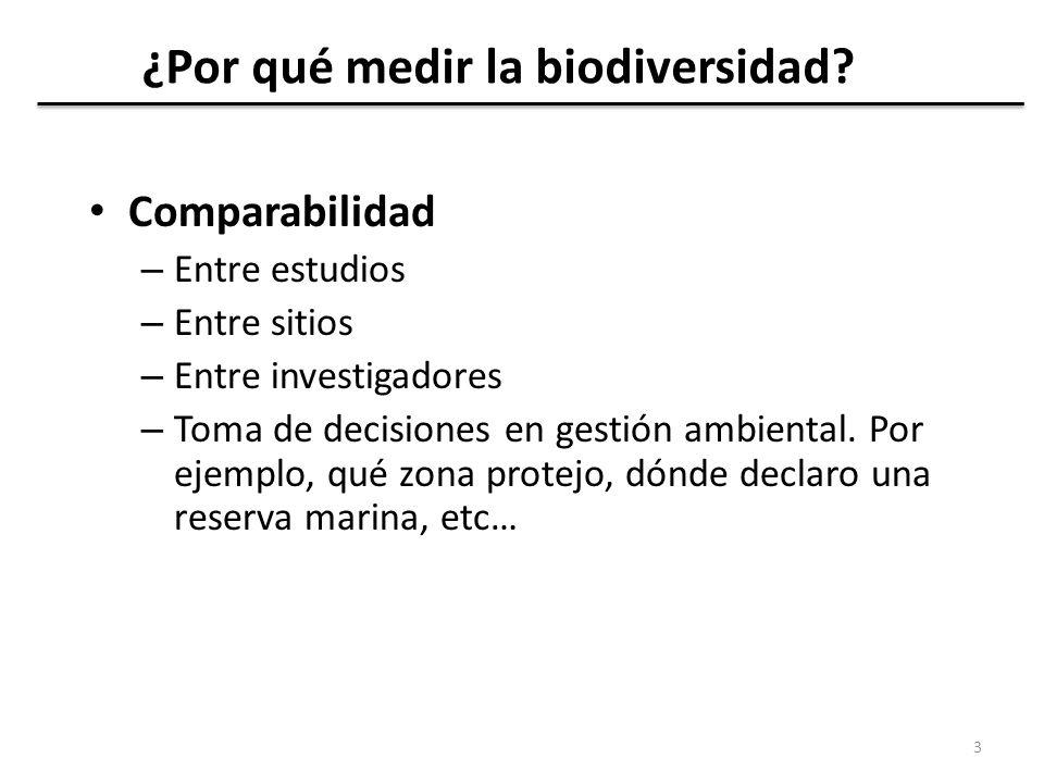 Descriptores específicos de la biodiversidad 4 (1) Riqueza de especies: el número de especies presentes (en una región concreta, en un listado, en un hábitat, en un sitio).