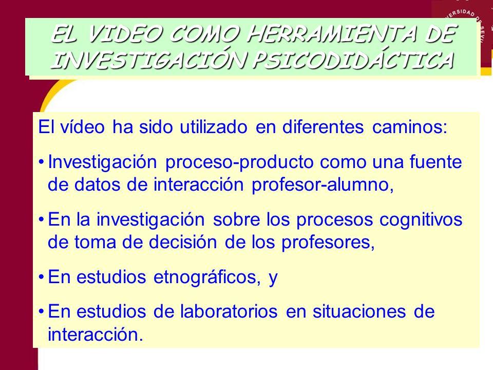 EL VIDEO COMO HERRAMIENTA DE INVESTIGACIÓN PSICODIDÁCTICA Crítica que se le hace: Los profesores y los estudiantes pueden mostrar comportamientos no naturales y verse mediatizados por la cámara.